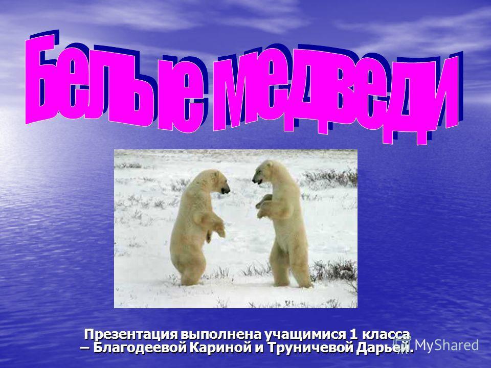 Презентация выполнена учащимися 1 класса – Благодеевой Кариной и Труничевой Дарьей.
