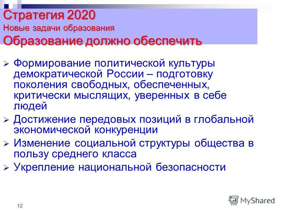 12 Стратегия 2020 Новые задачи образования Образование должно обеспечить Формирование политической культуры демократической России – подготовку поколения свободных, обеспеченных, критически мыслящих, уверенных в себе людей Достижение передовых позици