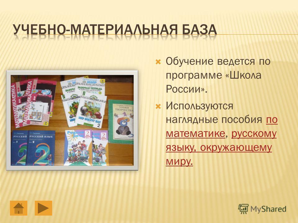 Обучение ведется по программе «Школа России». Используются наглядные пособия по математике, русскому языку, окружающему миру.по математикерусскому языку, окружающему миру.
