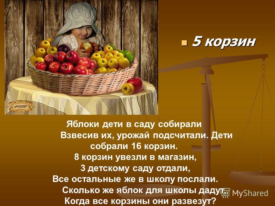 5 корзин 5 корзин Яблоки дети в саду собирали Взвесив их, урожай подсчитали. Дети собрали 16 корзин. 8 корзин увезли в магазин, 3 детскому саду отдали, Все остальные же в школу послали. Сколько же яблок для школы дадут, Когда все корзины они развезут