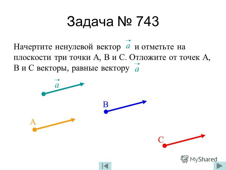 Задача 743 Начертите ненулевой вектор и отметьте на плоскости три точки А, В и С. Отложите от точек А, В и С векторы, равные вектору а а а А В С