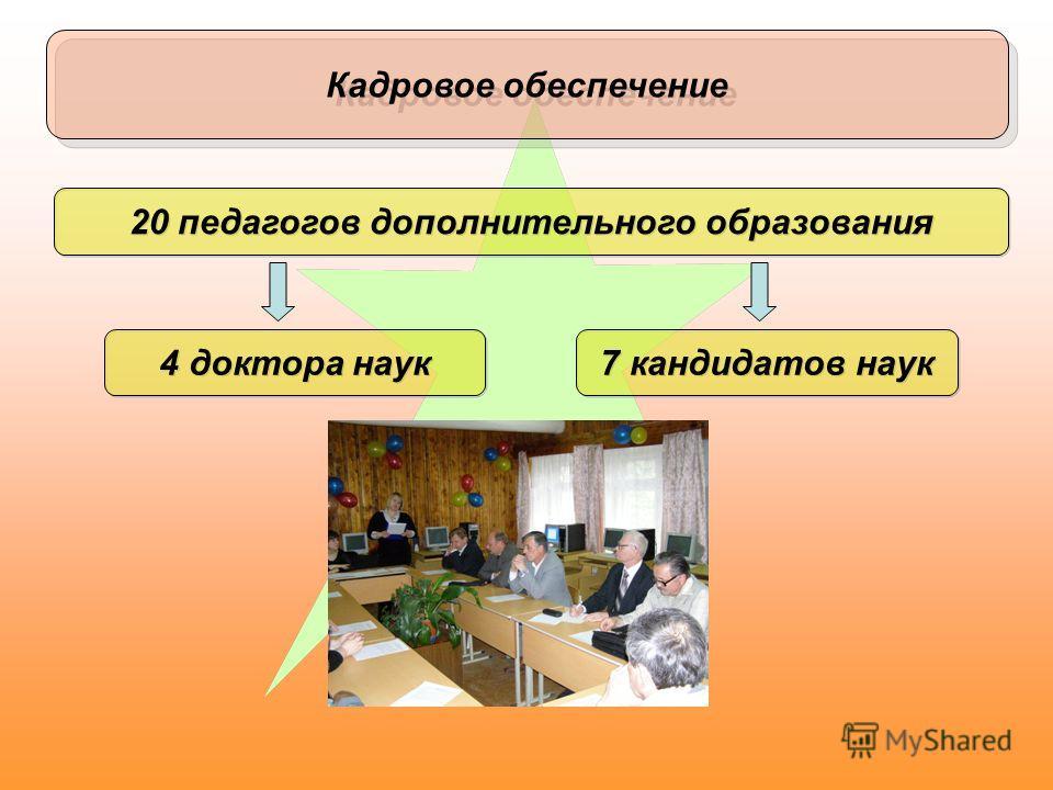 Кадровое обеспечение 20 педагогов дополнительного образования 4 доктора наук 7 кандидатов наук