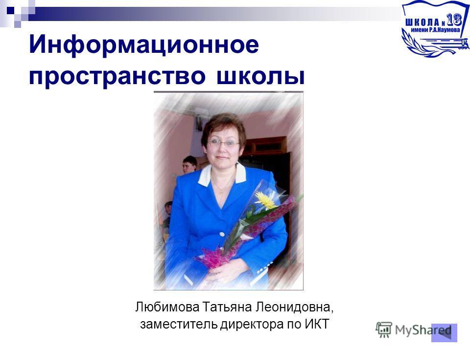 Информационное пространство школы Любимова Татьяна Леонидовна, заместитель директора по ИКТ