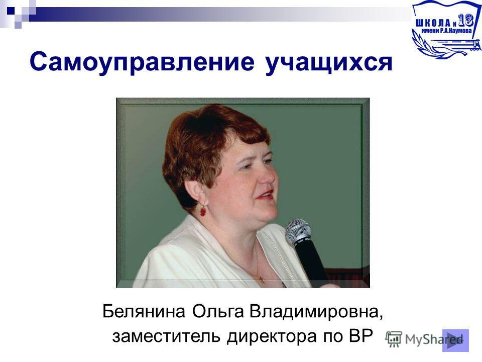 Самоуправление учащихся Белянина Ольга Владимировна, заместитель директора по ВР
