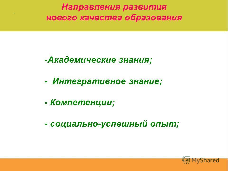 Направления развития нового качества образования -Академические знания; - Интегративное знание; - Компетенции; - социально-успешный опыт;