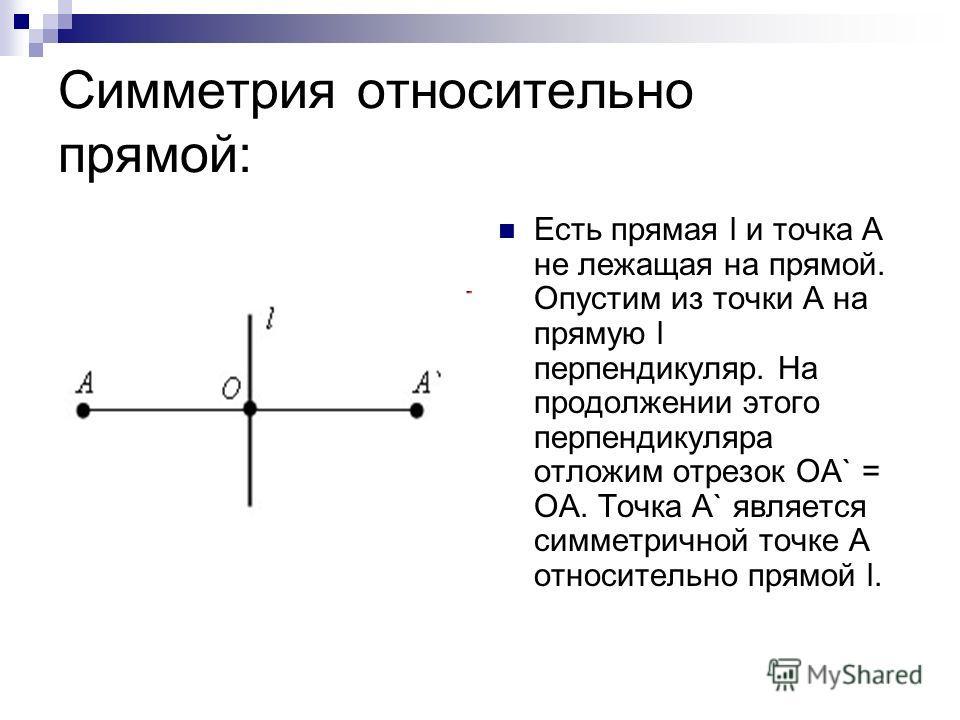 Симметрия относительно прямой: Есть прямая l и точка A не лежащая на прямой. Опустим из точки A на прямую l перпендикуляр. На продолжении этого перпендикуляра отложим отрезок OA` = OA. Точка A` является симметричной точке A относительно прямой l.
