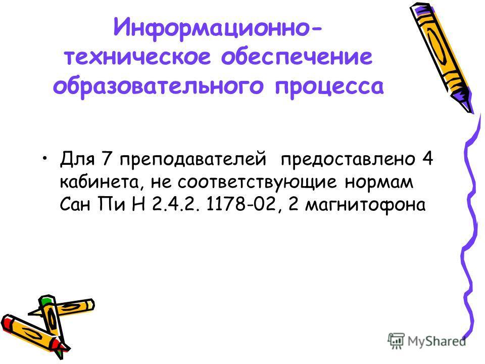 Информационно- техническое обеспечение образовательного процесса Для 7 преподавателей предоставлено 4 кабинета, не соответствующие нормам Сан Пи Н 2.4.2. 1178-02, 2 магнитофона