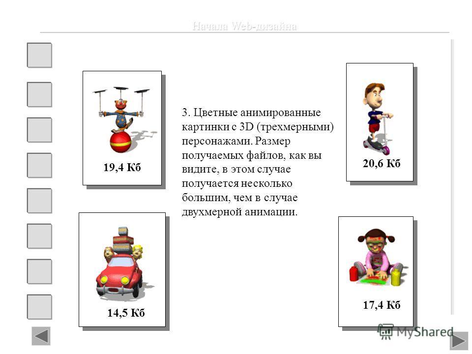 Начала Web-дизайна 19,4 Кб 20,6 Кб 14,5 Кб 17,4 Кб 3. Цветные анимированные картинки с 3D (трехмерными) персонажами. Размер получаемых файлов, как вы видите, в этом случае получается несколько большим, чем в случае двухмерной анимации.