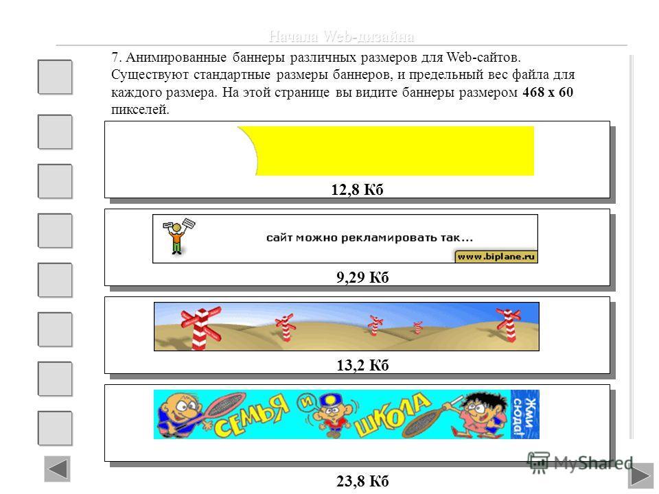 Начала Web-дизайна 12,8 Кб 7. Анимированные баннеры различных размеров для Web-сайтов. Существуют стандартные размеры баннеров, и предельный вес файла для каждого размера. На этой странице вы видите баннеры размером 468 х 60 пикселей. 9,29 Кб 13,2 Кб