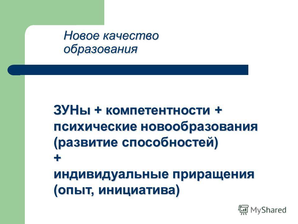 Новое качество образования ЗУНы + компетентности + психические новообразования (развитие способностей) + индивидуальные приращения (опыт, инициатива)