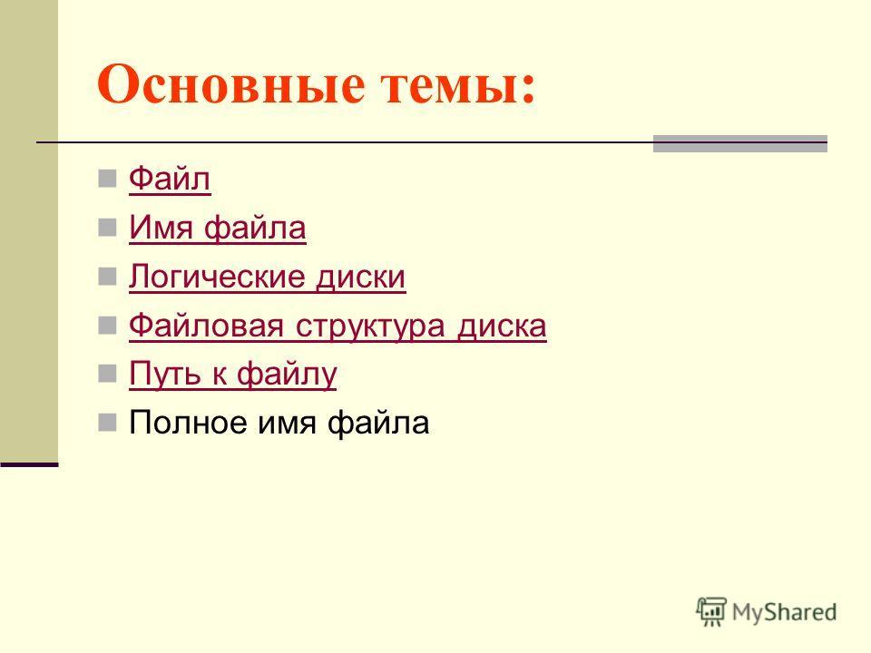 Основные темы: Файл Имя файла Логические диски Файловая структура диска Путь к файлу Полное имя файла