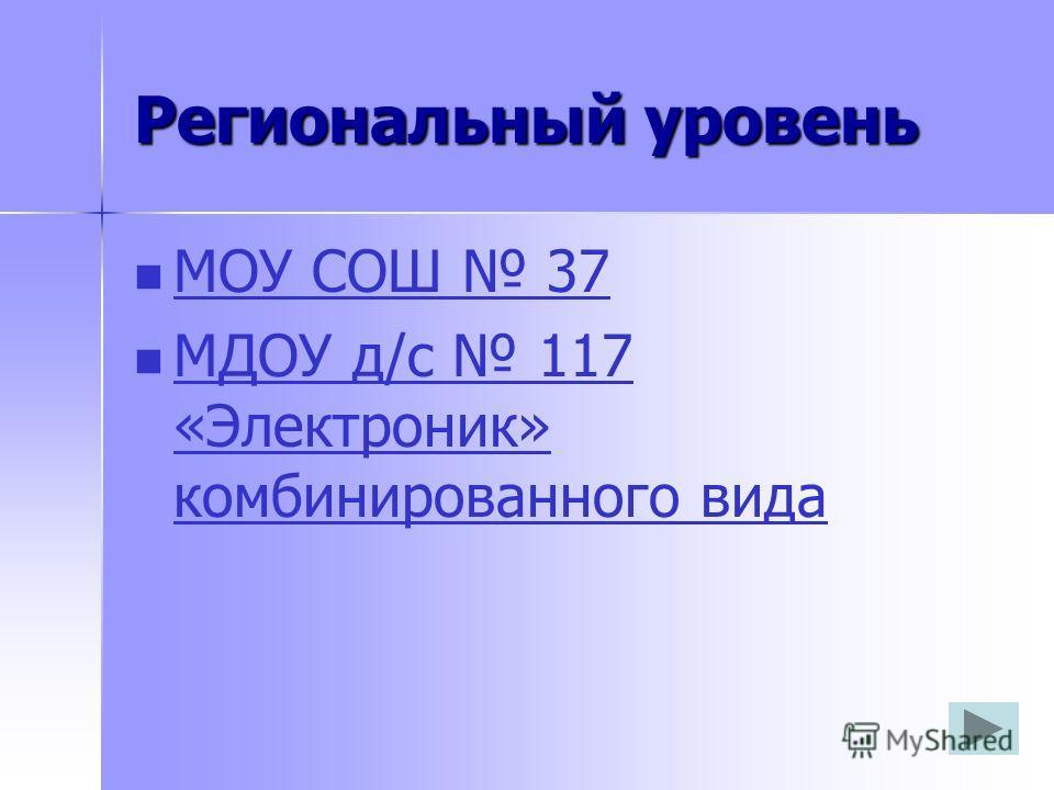 Региональный уровень МОУ СОШ 37 МДОУ д/с 117 «Электроник» комбинированного вида МДОУ д/с 117 «Электроник» комбинированного вида