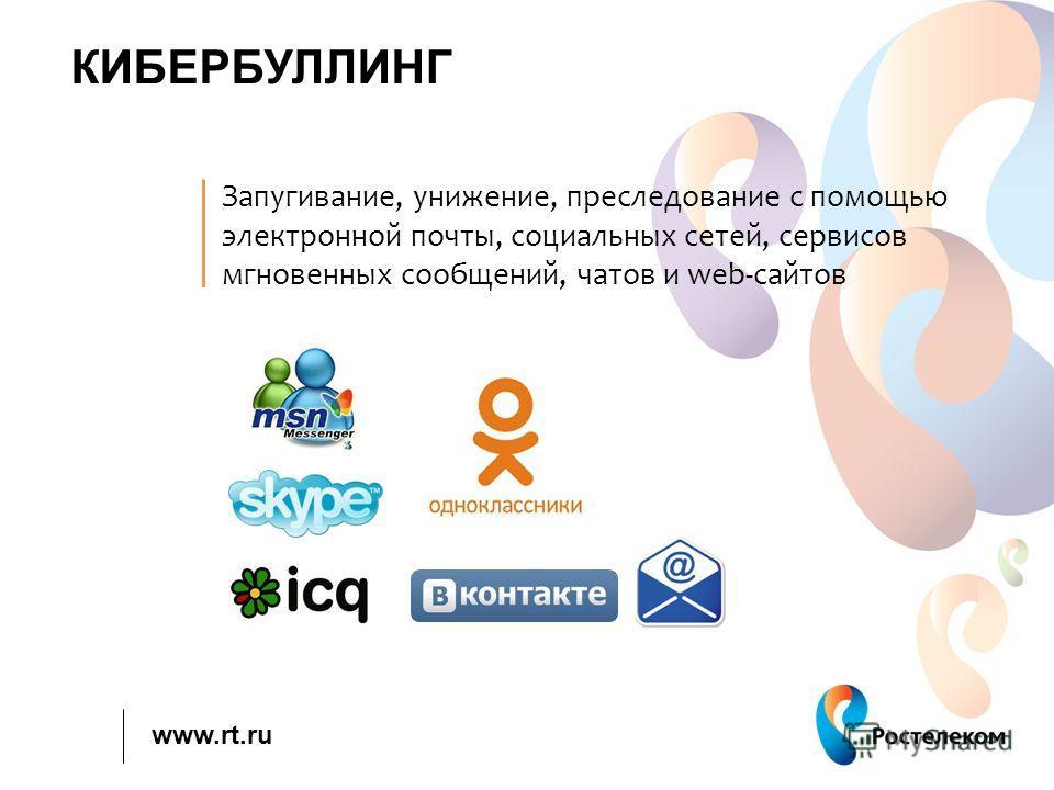 www.rt.ru КИБЕРБУЛЛИНГ Запугивание, унижение, преследование с помощью электронной почты, социальных сетей, сервисов мгновенных сообщений, чатов и web-сайтов