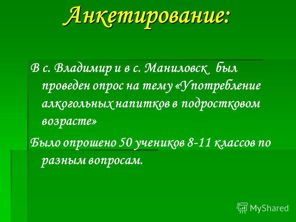 Анкетирование: Анкетирование: В с. Владимир и в с. Маниловск был проведен опрос на тему «Употребление алкогольных напитков в подростковом возрасте» Было опрошено 50 учеников 8-11 классов по разным вопросам.