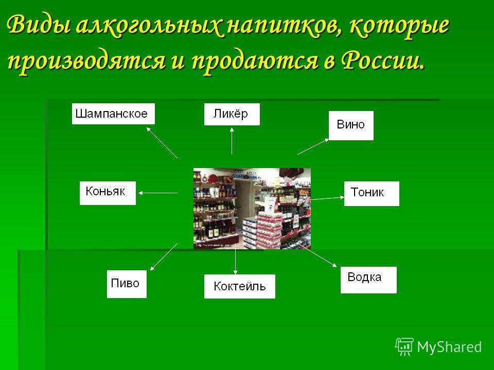 Виды алкогольных напитков, которые производятся и продаются в России.