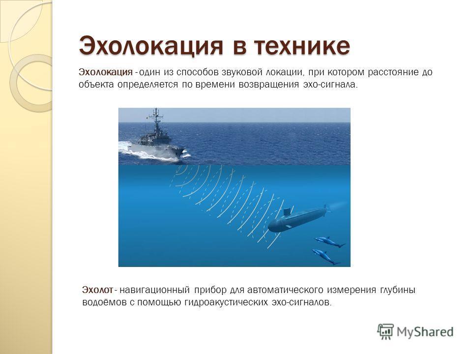 Эхолокация в технике Эхолот - навигационный прибор для автоматического измерения глубины водоёмов с помощью гидроакустических эхо-сигналов. Эхолокация - один из способов звуковой локации, при котором расстояние до объекта определяется по времени воз