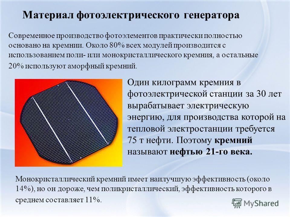 Материал фотоэлектрического генератора Современное производство фотоэлементов практически полностью основано на кремнии. Около 80% всех модулей производится с использованием поли- или монокристаллического кремния, а остальные 20% используют аморфный