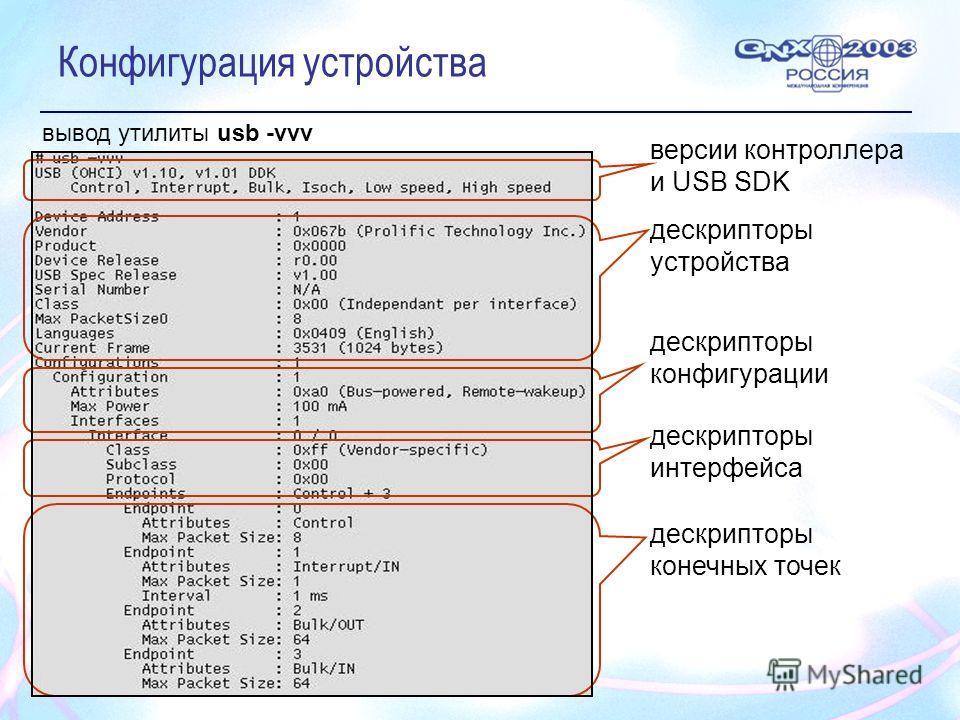 Конфигурация устройства дескрипторы устройства версии контроллера и USB SDK дескрипторы конфигурации дескрипторы интерфейса вывод утилиты usb -vvv дескрипторы конечных точек