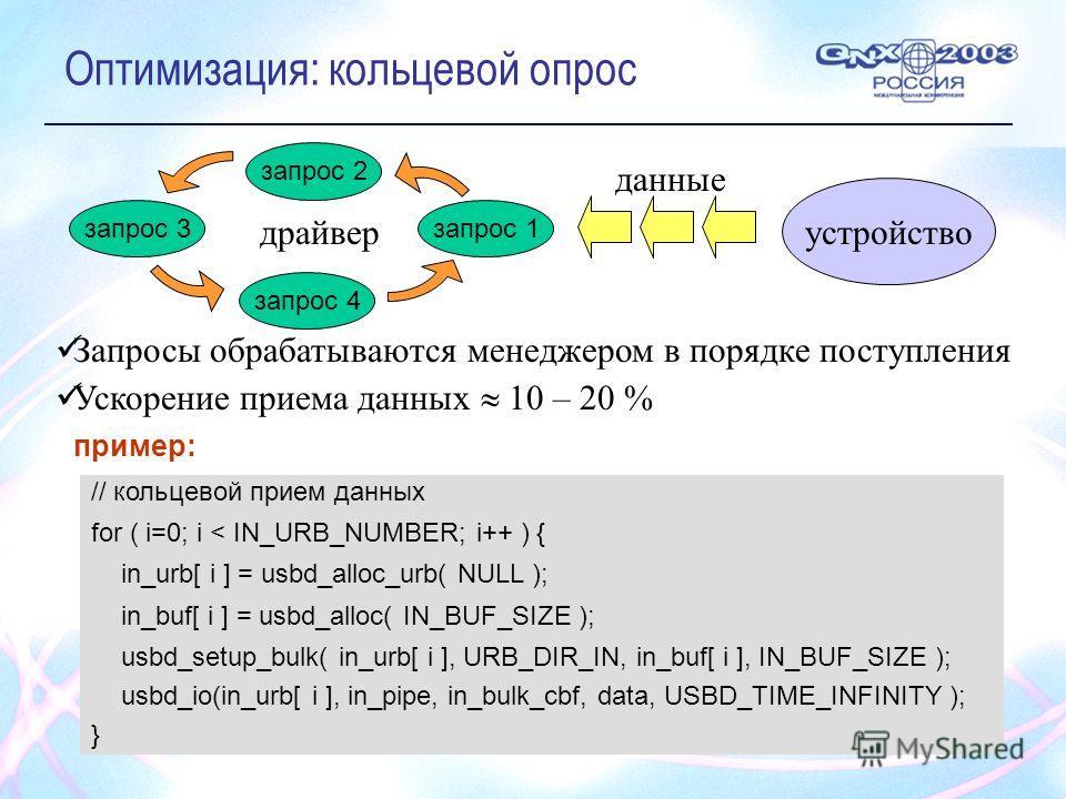 Оптимизация: кольцевой опрос запрос 4 запрос 3 запрос 2 запрос 1 устройство данные драйвер // кольцевой прием данных for ( i=0; i < IN_URB_NUMBER; i++ ) { in_urb[ i ] = usbd_alloc_urb( NULL ); in_buf[ i ] = usbd_alloc( IN_BUF_SIZE ); usbd_setup_bulk(