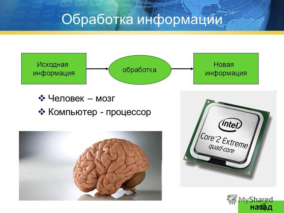 Обработка информации Человек – мозг Компьютер - процессор Исходная информация Новая информация обработка назад