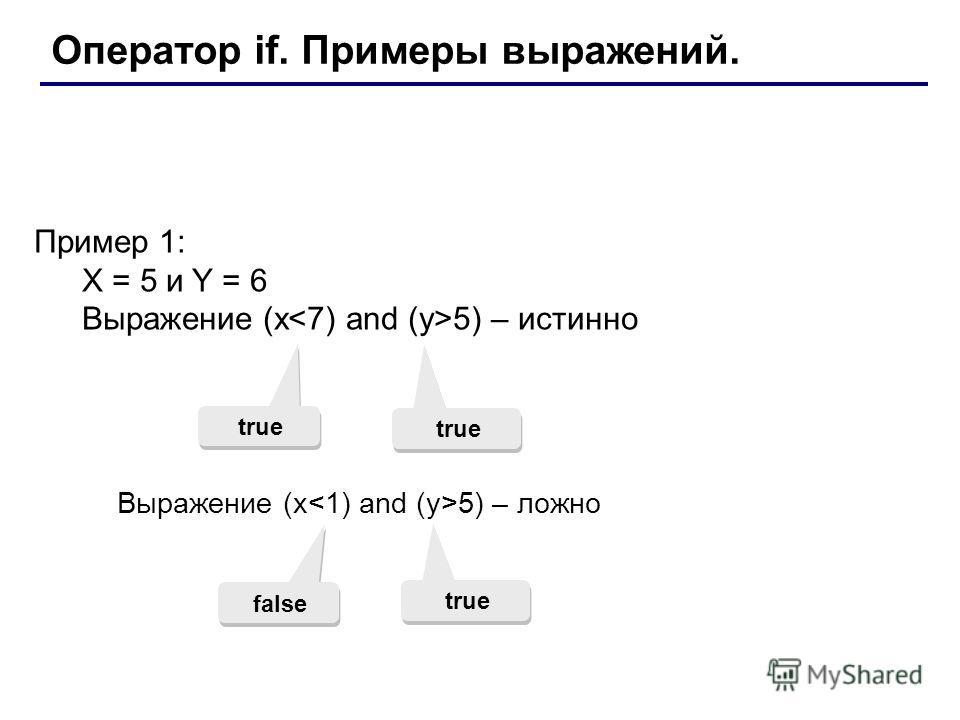 Оператор if. Примеры выражений. Пример 1: X = 5 и Y = 6 Выражение (x 5) – истинно true Выражение (x 5) – ложно false true