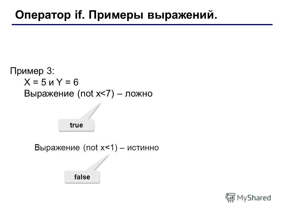 Оператор if. Примеры выражений. Пример 3: X = 5 и Y = 6 Выражение (not x