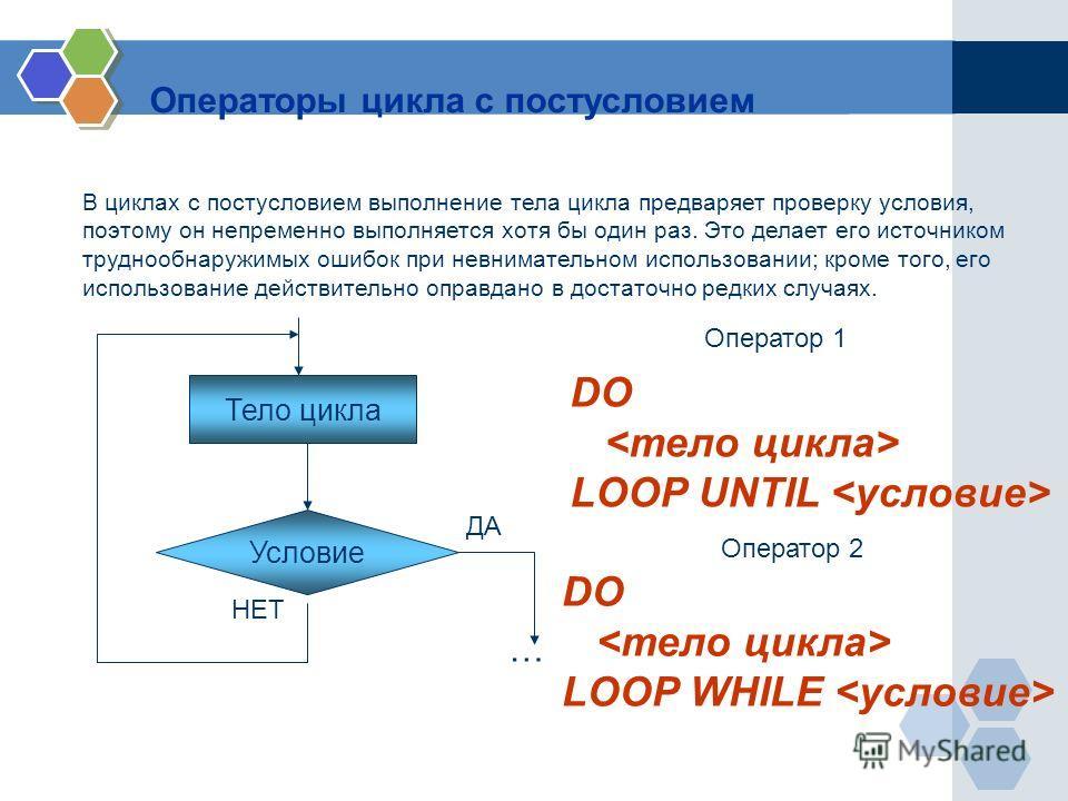 Операторы цикла с постусловием В циклах с постусловием выполнение тела цикла предваряет проверку условия, поэтому он непременно выполняется хотя бы один раз. Это делает его источником труднообнаружимых ошибок при невнимательном использовании; кроме т
