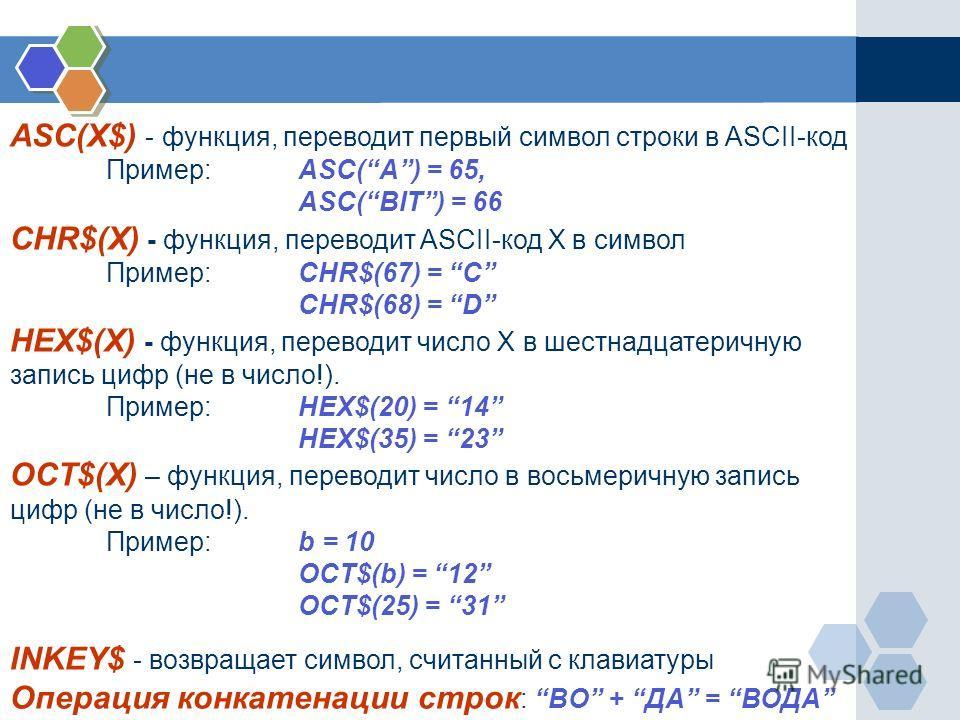 ASC(X$) - функция, переводит первый символ строки в ASCII-код Пример: ASC(A) = 65, ASC(BIT) = 66 CHR$(X) - функция, переводит ASCII-код X в символ Пример:CHR$(67) = C CHR$(68) = D HEX$(X) - функция, переводит число X в шестнадцатеричную запись цифр (