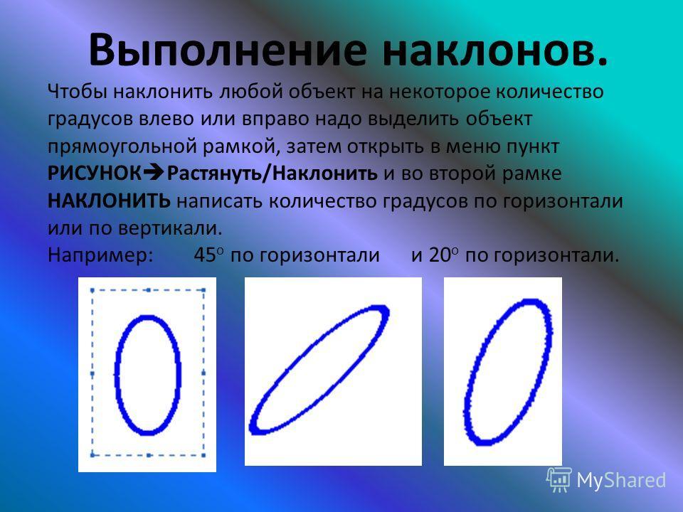 Выполнение наклонов. Чтобы наклонить любой объект на некоторое количество градусов влево или вправо надо выделить объект прямоугольной рамкой, затем открыть в меню пункт РИСУНОК Растянуть/Наклонить и во второй рамке НАКЛОНИТЬ написать количество град