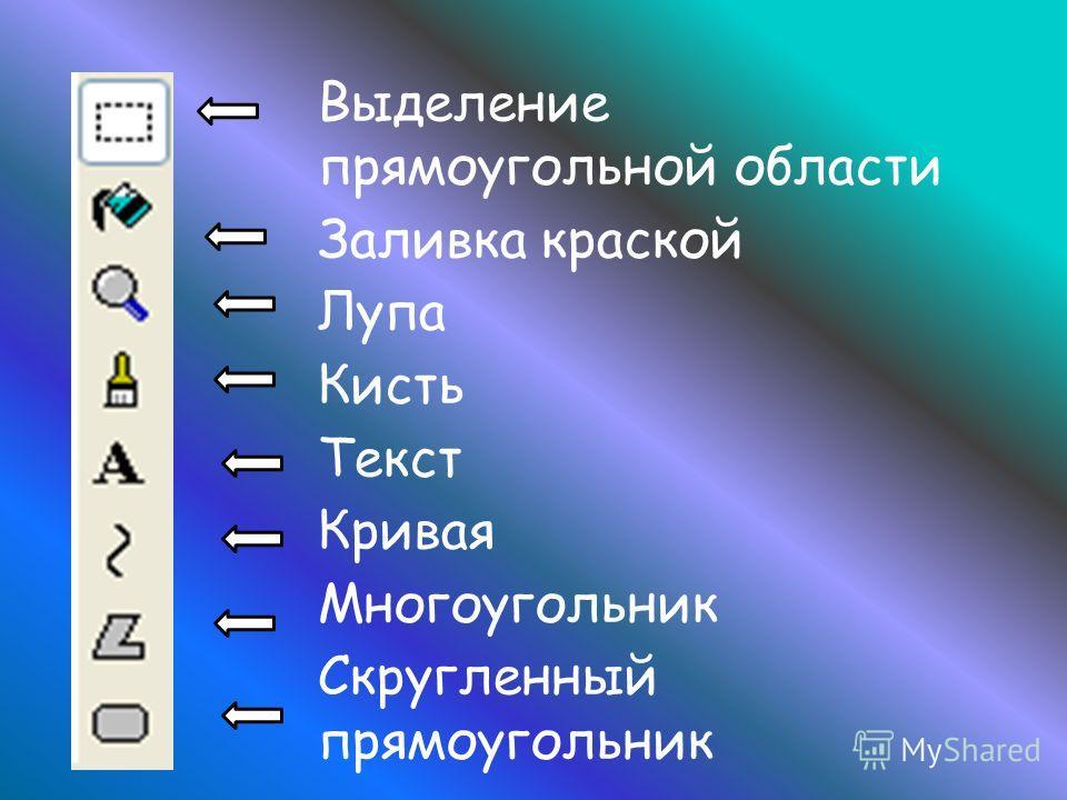 Выделение прямоугольной области Заливка краской Лупа Кисть Текст Кривая Многоугольник Скругленный прямоугольник