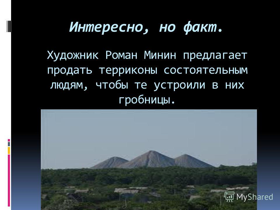 Интересно, но факт. Художник Роман Минин предлагает продать терриконы состоятельным людям, чтобы те устроили в них гробницы.
