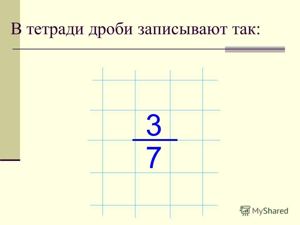 В тетради дроби записывают так: 3 7