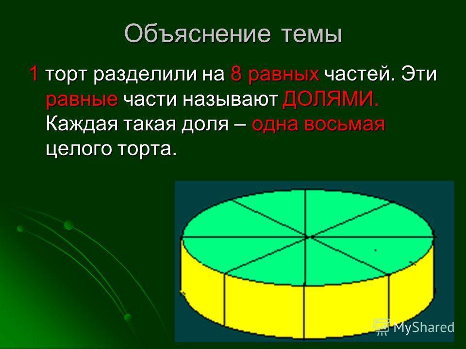 Объяснение темы 1 торт разделили на 8 равных частей. Эти равные части называют ДОЛЯМИ. Каждая такая доля – одна восьмая целого торта.