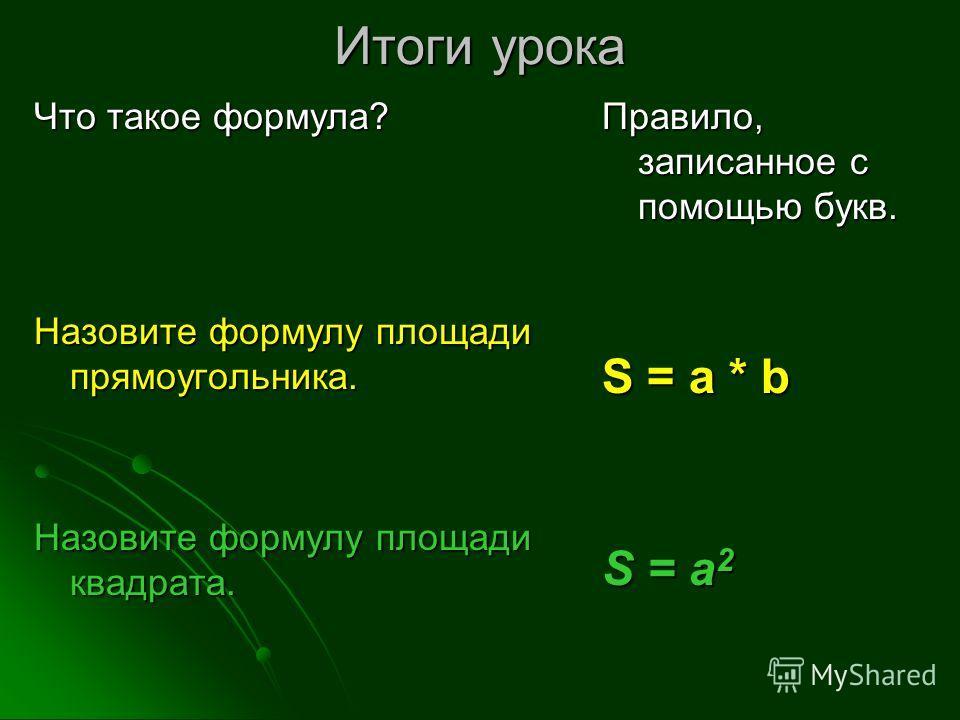 Итоги урока Что такое формула? Назовите формулу площади прямоугольника. Назовите формулу площади квадрата. Правило, записанное с помощью букв. S = a * b S = a 2