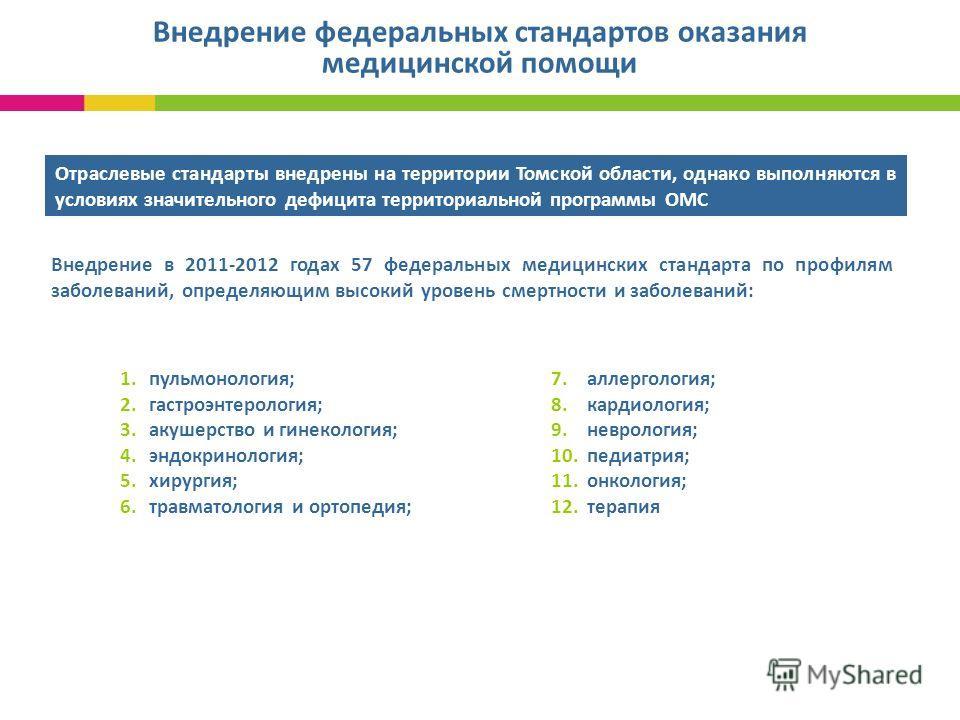 Внедрение федеральных стандартов оказания медицинской помощи 1 2 Отраслевые стандарты внедрены на территории Томской области, однако выполняются в условиях значительного дефицита территориальной программы ОМС Внедрение в 2011-2012 годах 57 федеральны
