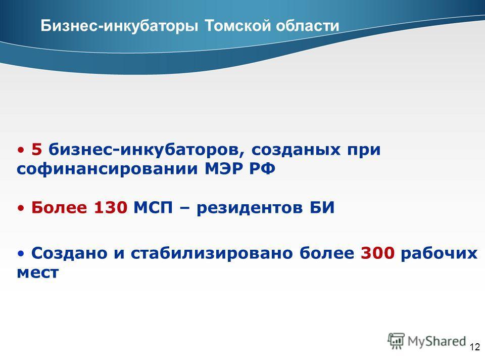 12 Бизнес-инкубаторы Томской области 5 бизнес-инкубаторов, созданых при софинансировании МЭР РФ Более 130 МСП – резидентов БИ Создано и стабилизировано более 300 рабочих мест