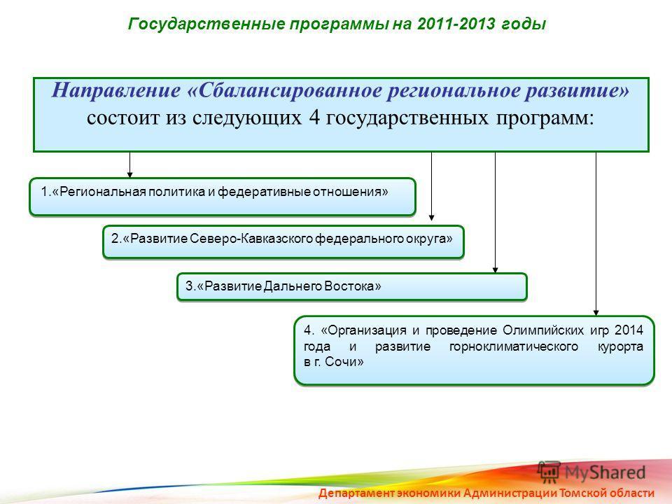 Государственные программы на 2011-2013 годы Направление «Сбалансированное региональное развитие» состоит из следующих 4 государственных программ: 1.«Региональная политика и федеративные отношения» 2.«Развитие Северо-Кавказского федерального округа» 3