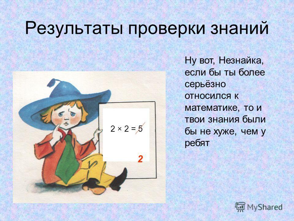 Результаты проверки знаний 2 × 2 = 5 2 Ну вот, Незнайка, если бы ты более серьёзно относился к математике, то и твои знания были бы не хуже, чем у ребят