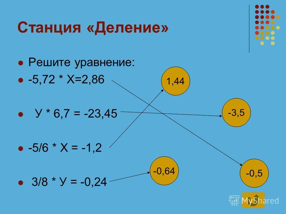 Станция «Деление» Решите уравнение: -5,72 * Х=2,86 У * 6,7 = -23,45 -5/6 * Х = -1,2 3/8 * У = -0,24 1,44 -0,5 -0,64 -3,5