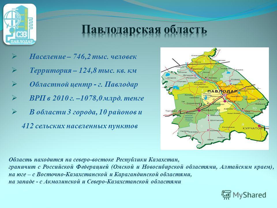 Население – 746,2 тыс. человек Территория – 124,8 тыс. кв. км Областной центр - г. Павлодар ВРП в 2010 г. –1078,0 млрд. тенге В области 3 города, 10 районов и 412 сельских населенных пунктов Область находится на северо-востоке Республики Казахстан, г