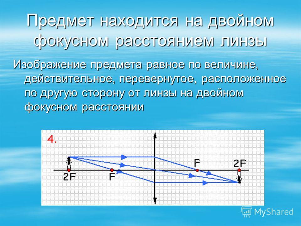 Предмет находится на двойном фокусном расстоянием линзы Изображение предмета равное по величине, действительное, перевернутое, расположенное по другую сторону от линзы на двойном фокусном расстоянии