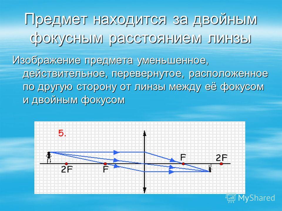 Предмет находится за двойным фокусным расстоянием линзы Изображение предмета уменьшенное, действительное, перевернутое, расположенное по другую сторону от линзы между её фокусом и двойным фокусом