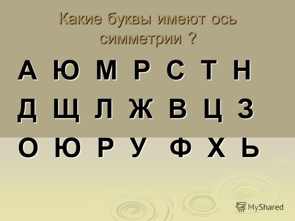 Какие буквы имеют ось симметрии ? А Ю М Р С Т Н Д Щ Л Ж В Ц З О Ю Р У Ф Х Ь