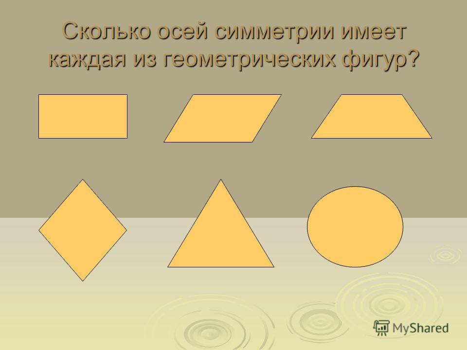 Сколько осей симметрии имеет каждая из геометрических фигур?