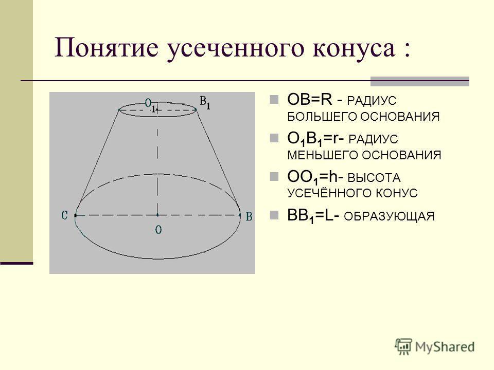 Получение : Если вращать прямоугольную трапецию вокруг её боковой стороны (ОО 1 ), перпендикулярной к основаниям, то получится тело которое называется усечённым конусом.