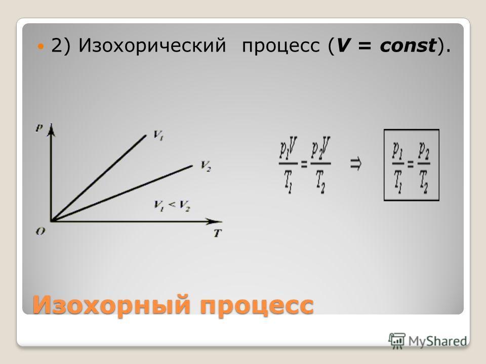 Изохорный процесс 2) Изохорический процесс (V = const).