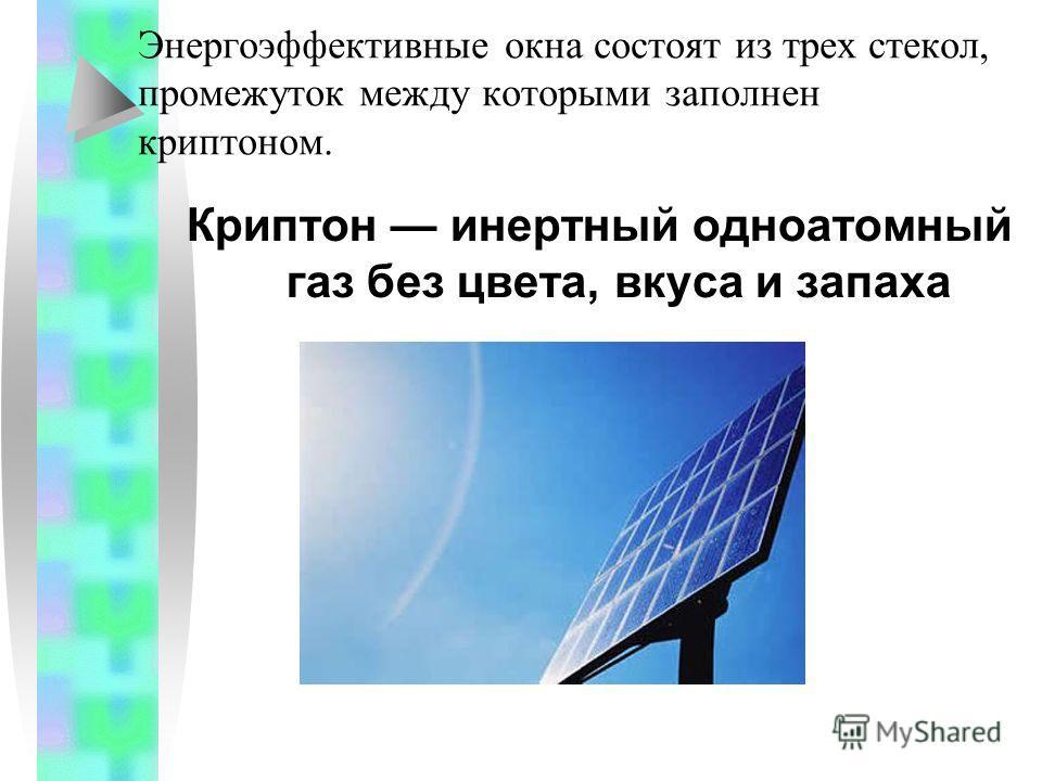 Энергоэффективные окна состоят из трех стекол, промежуток между которыми заполнен криптоном. Криптон инертный одноатомный газ без цвета, вкуса и запаха