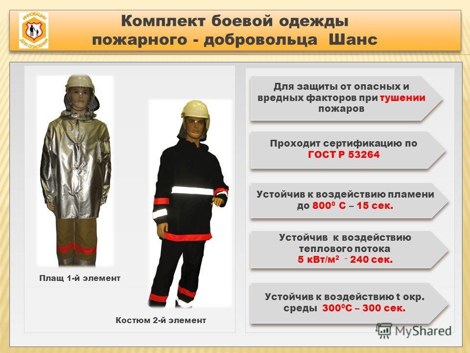 Комплект боевой одежды пожарного - добровольца Шанс Комплект боевой одежды пожарного - добровольца Шанс Плащ 1-й элемент Костюм 2-й элемент Для защиты от опасных и вредных факторов при тушении пожаров Проходит сертификацию по ГОСТ Р 53264 Устойчив к