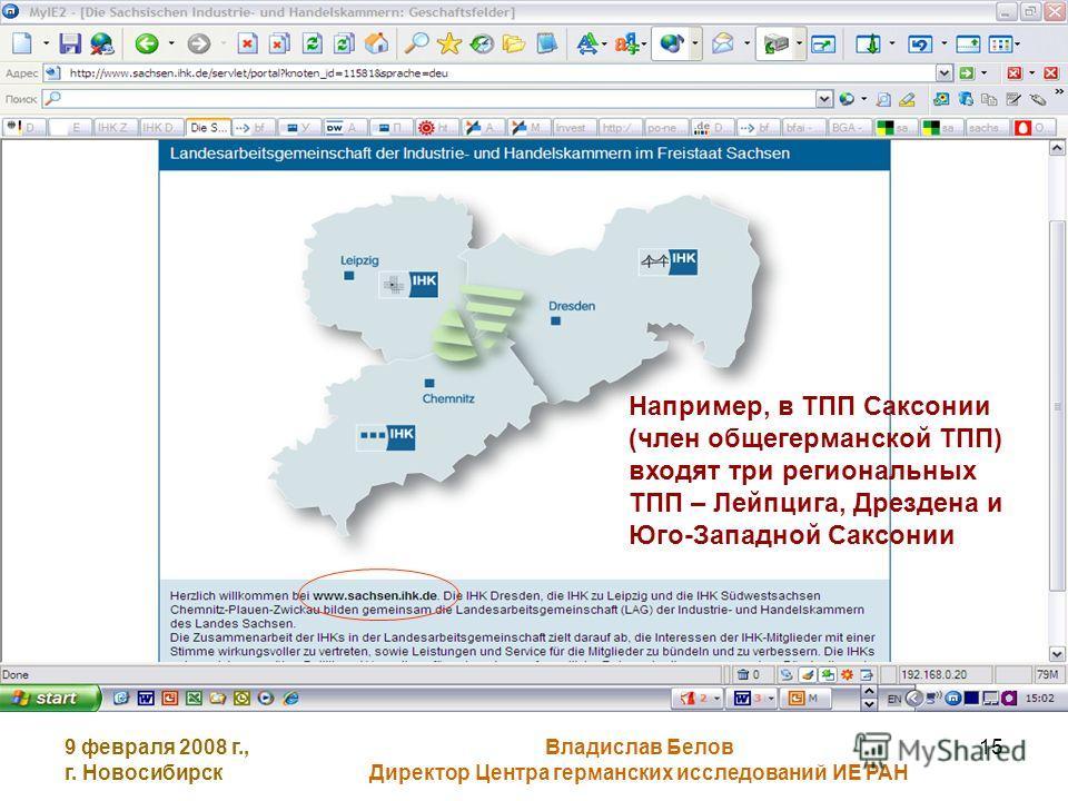 9 февраля 2008 г., г. Новосибирск Владислав Белов Директор Центра германских исследований ИЕ РАН 15 Например, в ТПП Саксонии (член общегерманской ТПП) входят три региональных ТПП – Лейпцига, Дрездена и Юго-Западной Саксонии