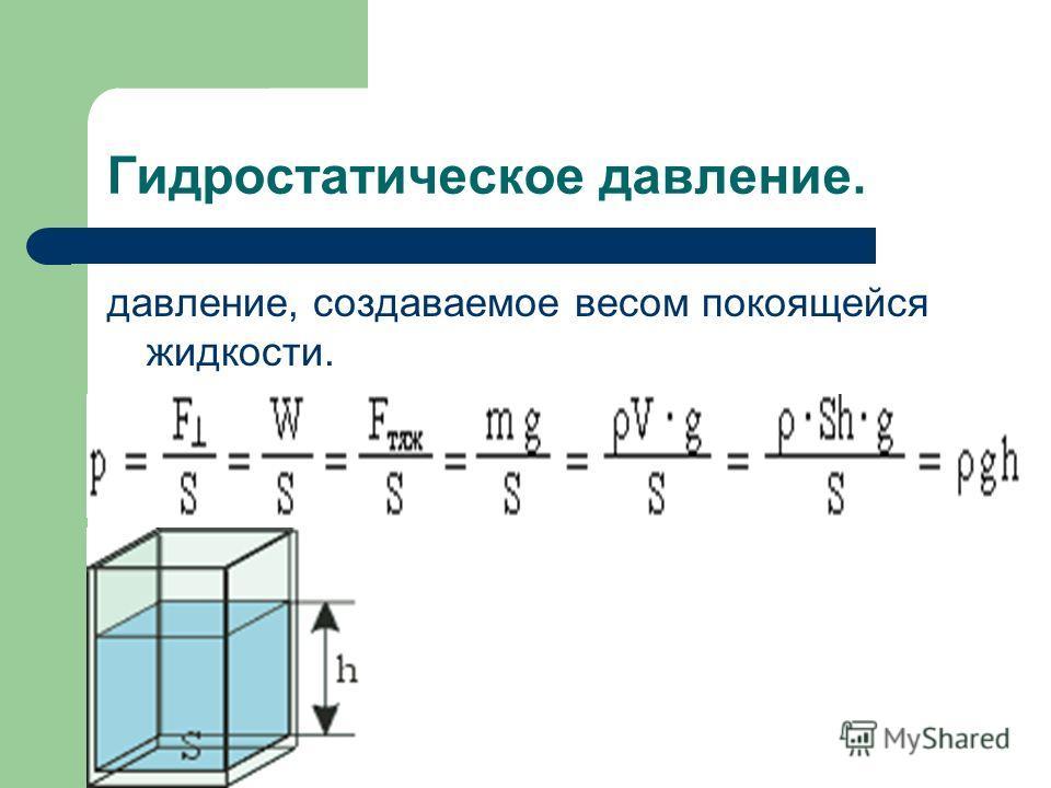 Гидростатическое давление. давление, создаваемое весом покоящейся жидкости.